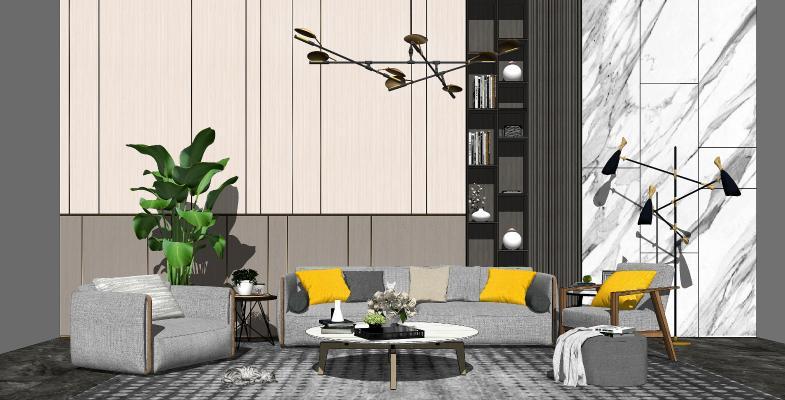 现代客厅 沙发茶几组合 背景墙 装饰摆件 休闲椅组合
