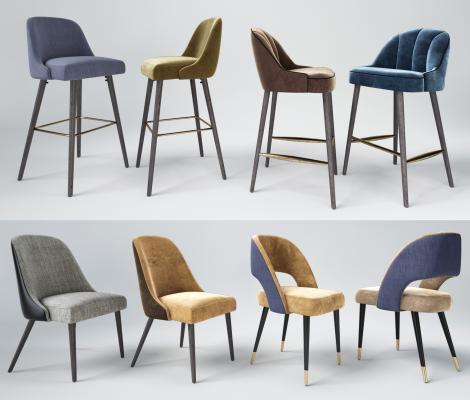 现代轻奢休闲餐厅椅 蓝色吧台餐椅