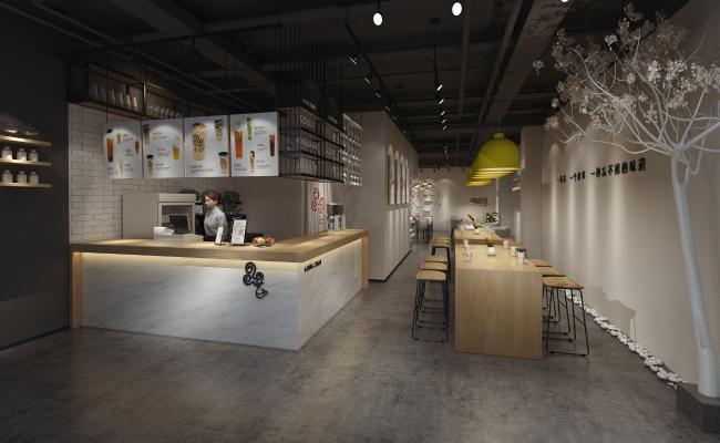 現代奶茶咖啡店 吊燈 掛畫
