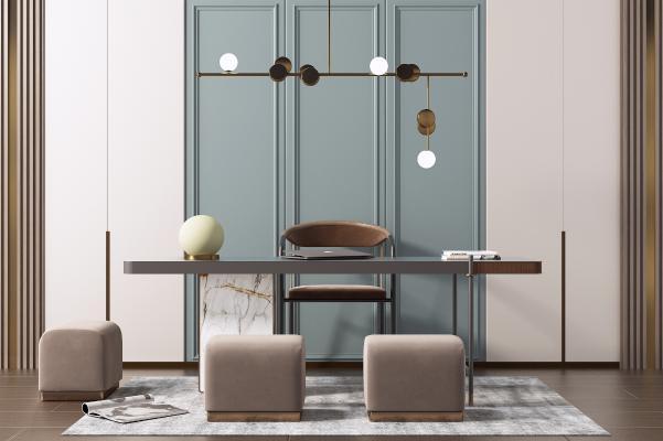 现代书桌椅组合 电脑桌 艺术吊灯
