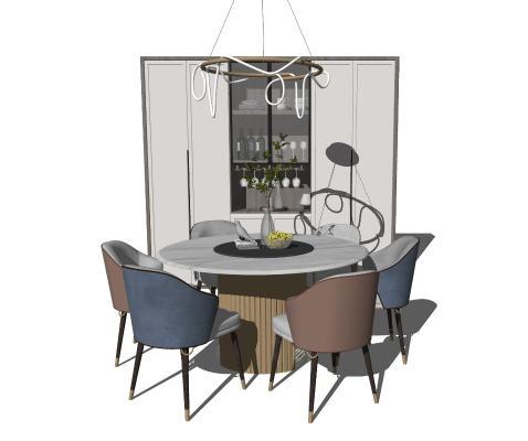 现代圆桌椅 酒柜组合