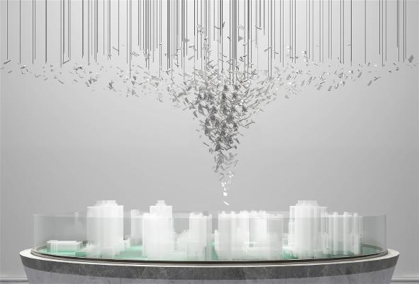 现代水晶吊灯 沙盘