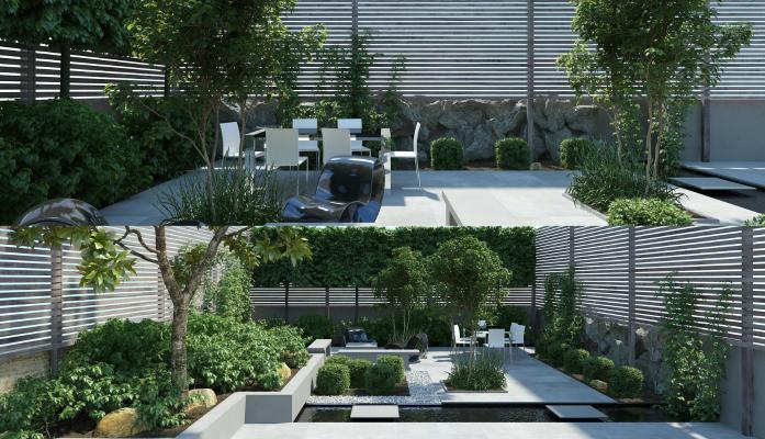 现代庭院 园林 园林景观 树木