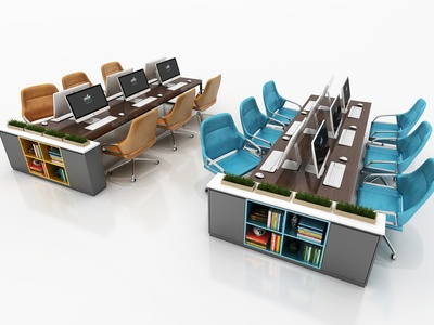 现代办公桌 办公桌组合 多人办公桌