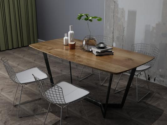 工業風餐桌椅組合