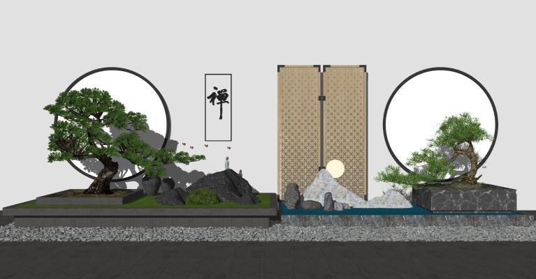 中式庭院景觀 迎客松 禪意園藝小品