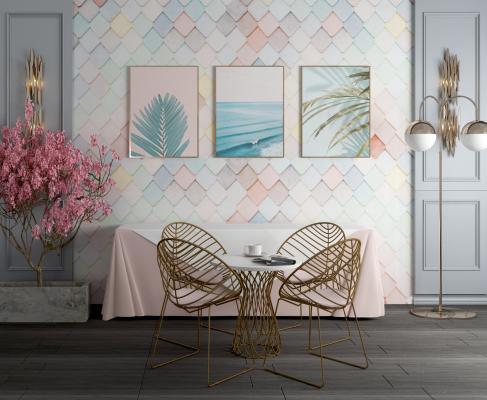 现代轻奢桌椅 背景墙 壁灯