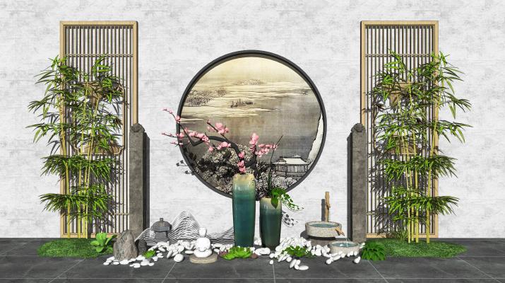 新中式庭院景观 景观小品 枯枝
