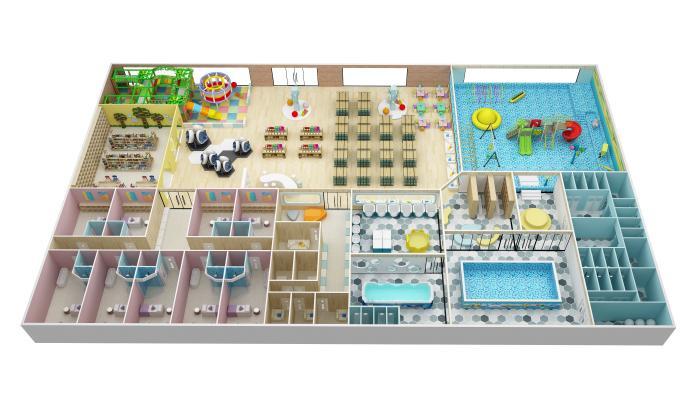 现代婴童游泳馆 水上乐园沙盘