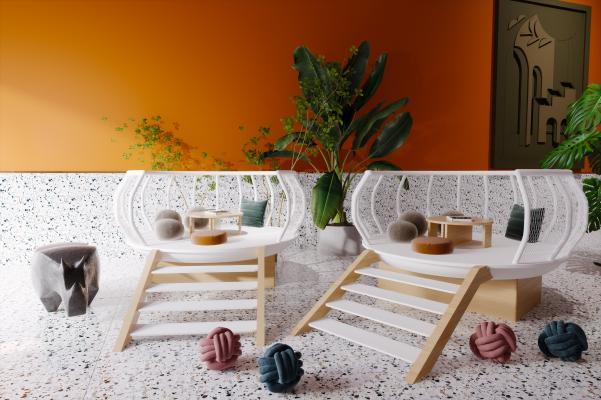 北欧儿童休闲区 幼儿园 围栏 盆栽 城堡 矮凳 餐桌