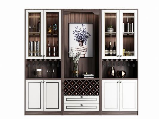 现代实木酒柜组合