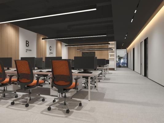 现代办公室 吊灯 书柜