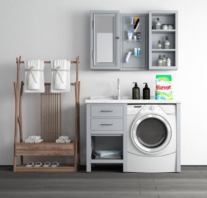 现代风格卫浴柜架 洗衣机柜 毛巾架