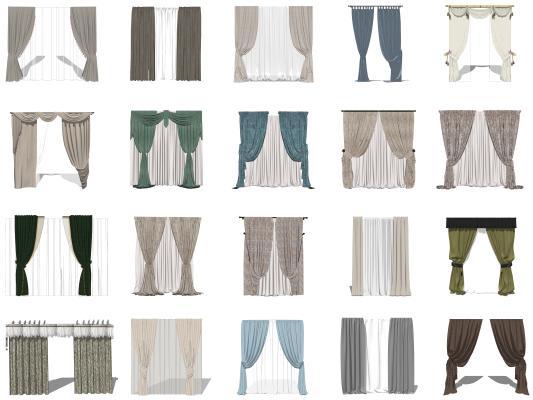 现代布艺窗帘 窗纱 罗马杆窗帘