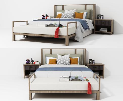 新中式灰色布艺双人床