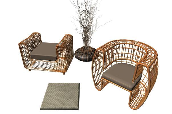 新中式休閑躺椅 藤椅