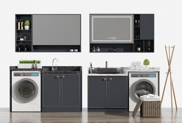 现代浴室柜组合 洗衣机