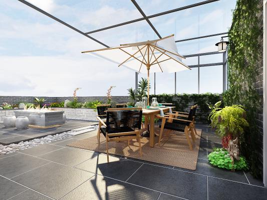 新中式顶楼花园阳台