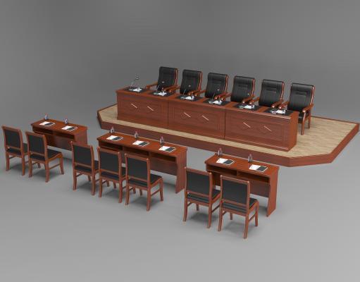 新中式实木会议桌椅 条桌椅 主席台桌椅