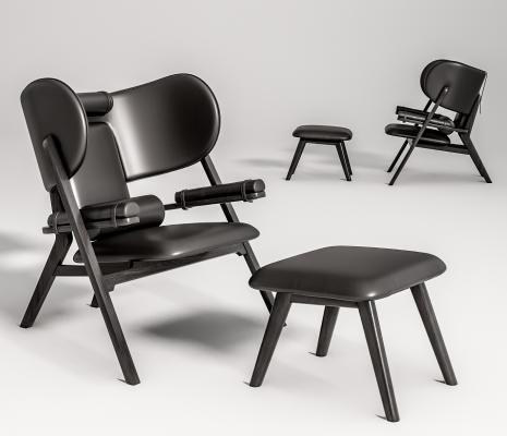 现代休闲椅 脚踏组合