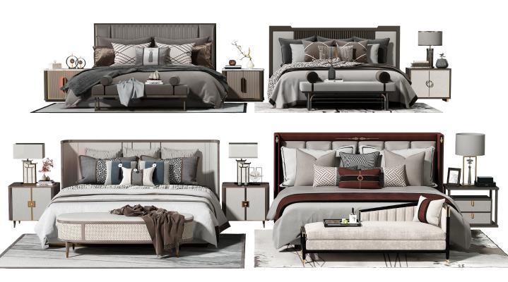 新中式双人床 床头柜 床尾凳 脚踏 床上用品