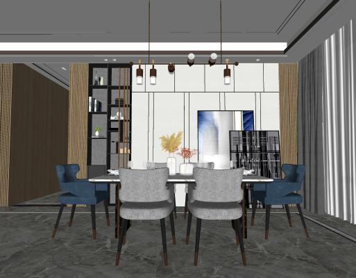 现代轻奢餐厅 餐桌椅 吊灯 玻璃 花瓶 背景墙