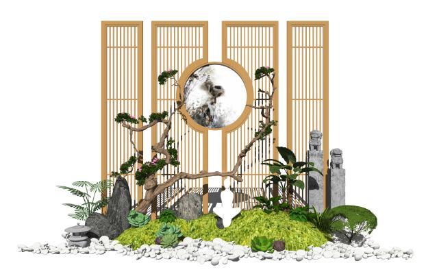 新中式庭院景观 景观小品 隔断