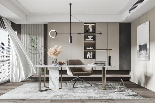现代书房 多功能房 书桌椅 书柜 装饰品 雕塑 吊灯 地毯 窗帘 凳子