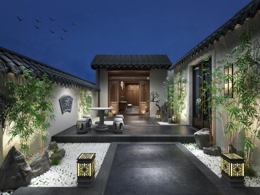 新中式庭院景观 竹子 石桌椅