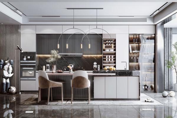 现代开放式厨房 餐厅 岛台 厨具