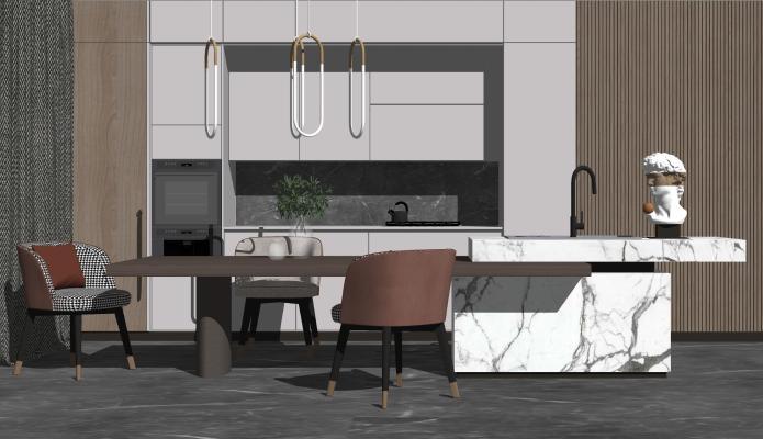 现代风格多功能餐厅 背景墙 餐桌椅组合