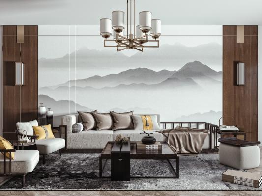新中式沙发茶几组合 实木沙发 单人椅