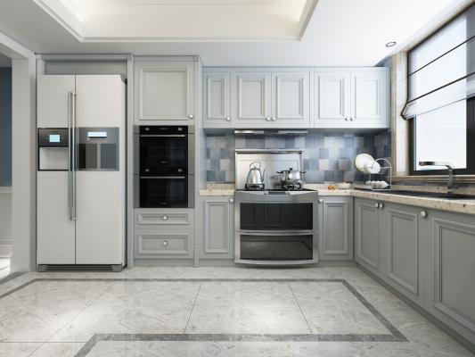 欧式厨房 集成灶 橱柜 冰箱 洗碗机 消毒柜