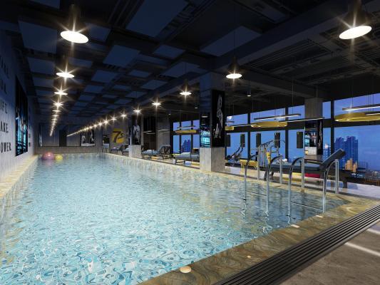 工业风健身房 游泳池 跑步机 健身器械