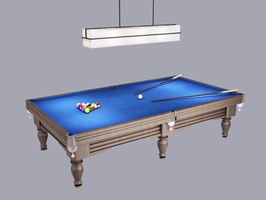 美式台球桌 吊灯 球台 球杆