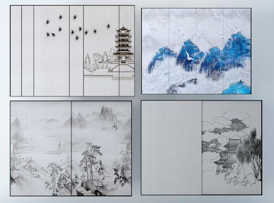 新中式水墨畫硬包背景墻,裝飾畫