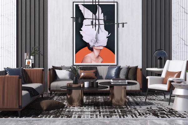 现代沙发茶几组合 休闲椅 艺术吊灯