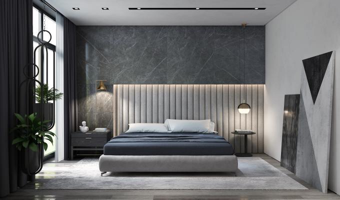 現代主臥室 簡約雙人床 床頭柜