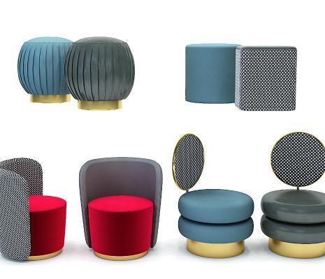 现代轻奢圆形沙发凳化妆凳,圆凳,圆墩坐凳