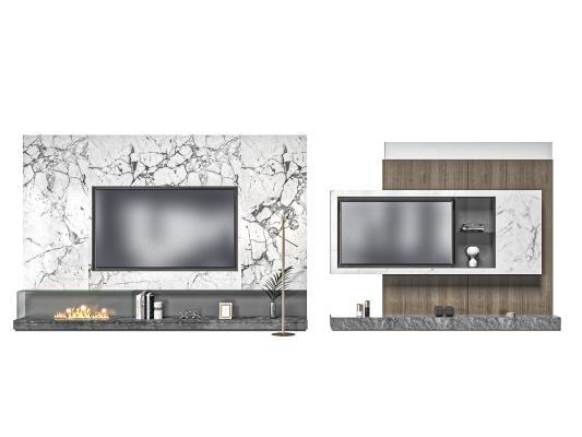 现代电视柜 电视背景墙 电视机