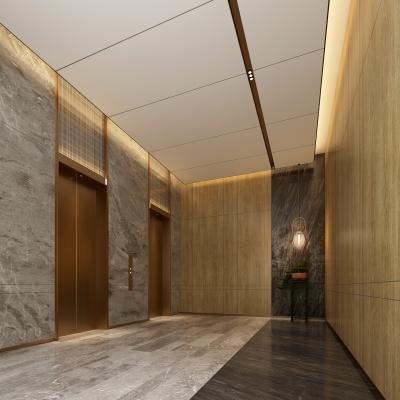 现代酒店电梯间 吊灯 大厅