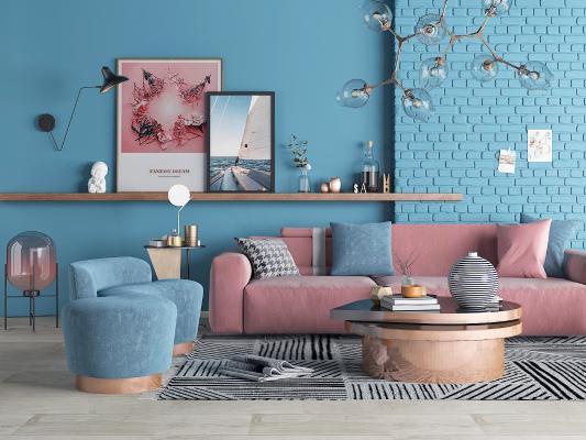 北欧沙发茶几花瓶摆件组合