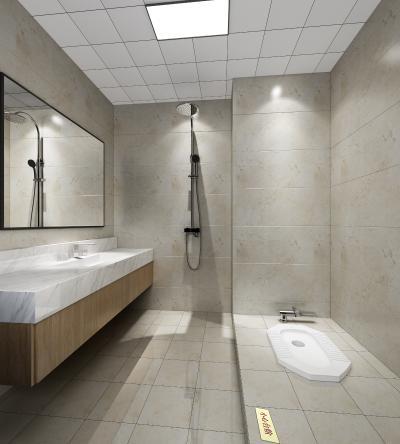 现代卫生间 淋浴间 现代蹲便器