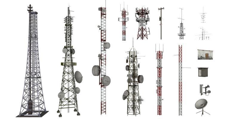 现代信号塔 通讯塔 信号发射塔