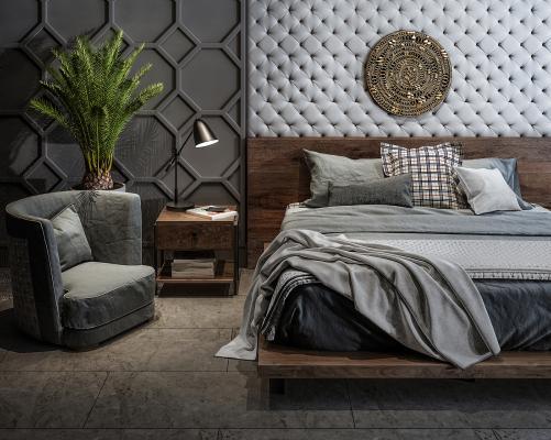 现代双人床 休闲椅 植物