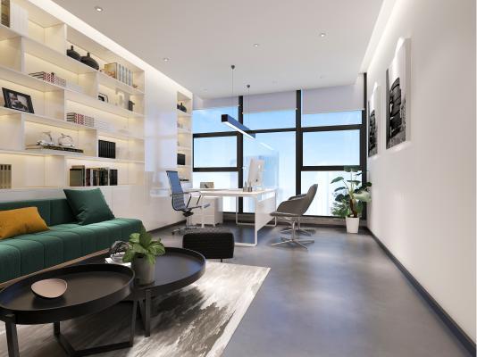 现代风格办公室 沙发茶几 办公班台