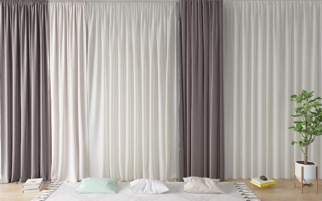 北欧窗帘 纱帘 抱枕