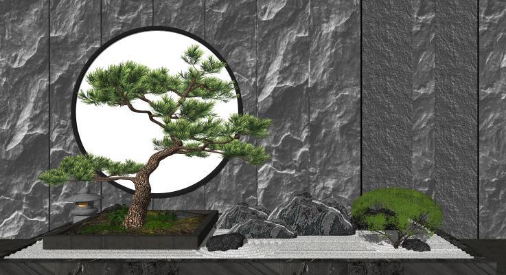 新中式庭院造景假山景观树 背景墙