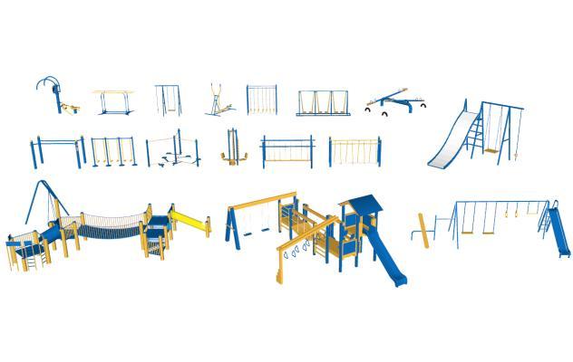 现代公园运动器材 滑滑梯 秋千公共设施