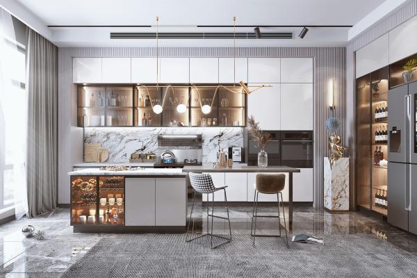 现代轻奢厨房 餐厅 橱柜